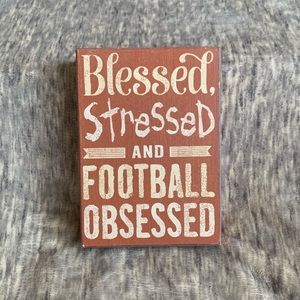 Football Quote Wood Box Sign Fall Blessed